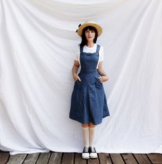 Vintage Denim Jumper Dress Vintage Jeans, Vintage Outfits, Denim Pullover, Denim Jumper Dress, Modest Outfits, Modest Clothing, Country Fashion, Casual Elegance, Mori Girl