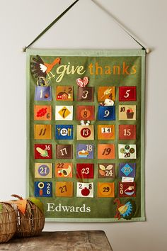 Thanksgiving countdown with notes of thanks in each pocket.