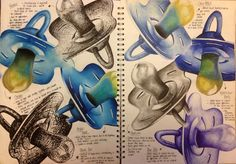 Pages from A2 Fine Art sketchbook on the topic of Baby. Studies in black fineliner, chalks, acrylics, black pen, colour pencils, watercolours, charcoal and blue biro.