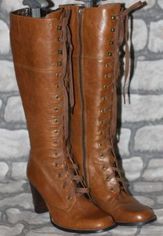 Tan Leather Victorian Steampunk Goth Pirate Military Ridin Laced Knee Boots 4 37