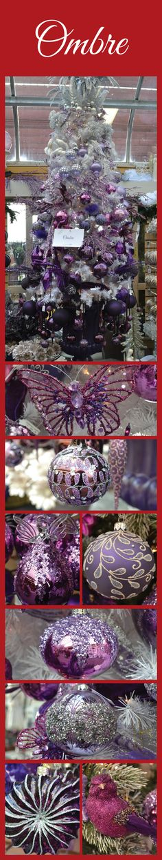 Ombre - This tree theme is very fashionable and embraces our trendiest color for the holiday: Purple! #Christmas