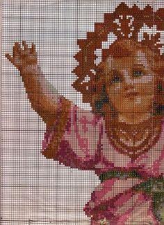 patron del divino niño en punto de cruz - Buscar con Google Cross Stitch Angels, Needlepoint Patterns, Ceramic Design, Crochet Dolls, Cross Stitch Embroidery, Needlework, Religion, Crafts, Google