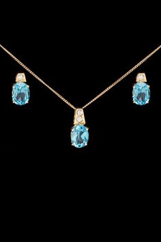 gold blowout 10k Gold, Blue Topaz & Diamond Earrings & Necklace Set-need to get my gems set like this.