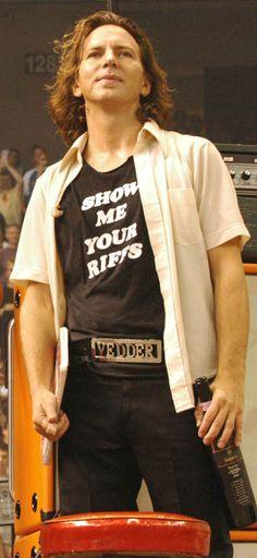 Eddie Vedder in a Sleater-Kinney shirt.