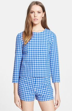 """Free shipping and returns on Diane von Furstenberg 'Giselle' Gingham Top at Nordstrom.com. <p><B STYLE=""""COLOR:#990000"""">Pre-order this style today! Add to Shopping Bag to view approximate ship date. You'll be charged only when your item ships.</b></p><br>Natty gingham checks pattern a chic woven top framed with elegant three-quarter sleeves."""