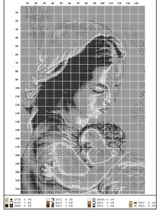 Minnie Baby, Religious Cross, Cross Stitching, Madonna, Art Lessons, Cross Stitch Patterns, Nativity, Monochrome, Catholic