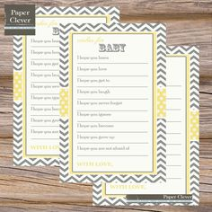 Bright Yellow And Gray Wishes For Baby -- Baby Shower Games Vintage Chevron…