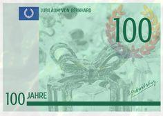 Einladungskarte zum 100. Geburtstag mit Geldschein-Motiv