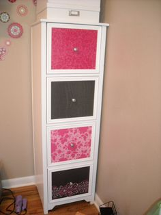 Update on filing cabinet - Scrapbook paper! i am so doing this during the summer for my 3 ugly filing cabinets!
