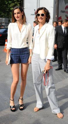 Inés de la Fressange with daughter Nine Marie d'Urso. Paris Couture Week, July 2015.
