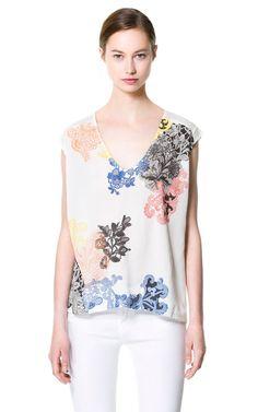 #zara #floral #vneck #sleeveless $29.90