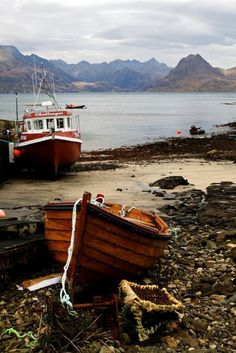 Elgol fishing boats, Isle of Skye, Scotland, UK Old Boats, Sail Boats, England And Scotland, Scotland Uk, Scotland Travel, Fishing Boats, Fishing Lures, Fly Fishing, Marlin Fishing