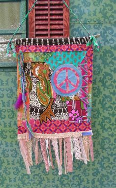 bohemian  Hippie Prayer flag Peace flag wall by TheSleepyArmadillo