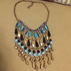 """Stella & Dot Malta Bib Statement Necklace Retired Stella & Dot. Has genuine turquoise stones, lapis blue beads accented with vintage gold plating on brass chain. Wear long or short at 17""""-21"""". Stella & Dot Jewelry Necklaces"""