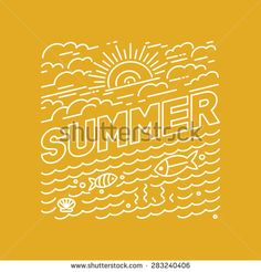 Vector summer poster and banner design in trendy linear style - lettering and…