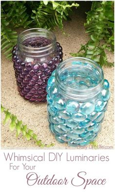 Whimsical DIY Glass Stone Luminaries. Perfect addition to any Outdoor Space. Elegant enough to even be used as a centerpiece for a Summer Wedding. http://DailyDIYLife.com