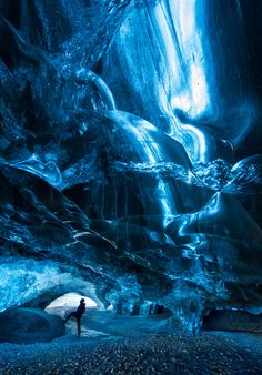 Hiker inside an ice cave 3,Iceland One of Ian Plant's favorite photos from 2015