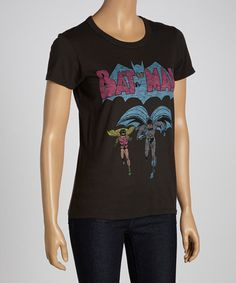 Take a look at this Black Wash Batman Tee by Junk Food on #zulily today!