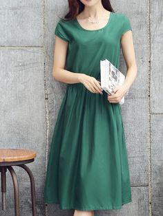 Absorbing Round Neck  Plain Shift-dresses Shift Dresses from fashionmia.com