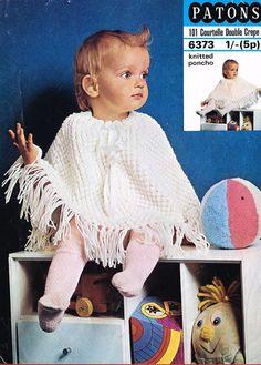 Patons 6373 baby poncho  vintage knitting pattern by Ellisadine, £1.10