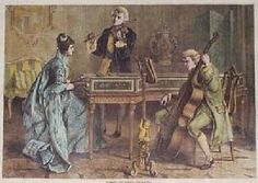 "1876 Music Trio, Love Triangle. Hand colored antique engraving from Harper's Weekly, titled ""Harmony and Discord."" Shows a young woman seated at a harpsichord, gazing admiringly at a man who is accompanying her on the violin"