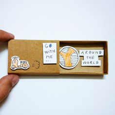 Go with me around the world Card Matchbox Gretting Card by JtranJ