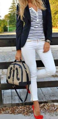 I like this outfit, especially the blazer, shirt, and shoes. I don't know that I'd be daring enough to wear white pants with a toddler.