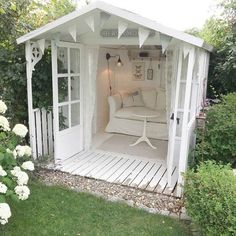 Home Enchanting backyard romantic white she shed with French Nordic style - Villa Jenal.