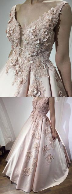chic pearl pink plunging prom party dresses with appliques beaded, fashion ball gowns for sweet 16, quinceanera dresses.