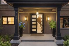 Contemporary garden design and entryway for a Seattle Washington, Hunts Point residence remodel by landscape architects, Project Groundwork