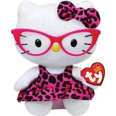 Ty Beanie Baby Hello Kitty Plush -Pink Leopard Nerd with Glasses by Ty Beanie Babies TOY Peluche Hello Kitty, Chat Hello Kitty, Hello Kitty Toys, Kitty Kitty, Beanie Babies, Ty Beanie, Kawaii, Hello Kitty Imagenes, Miss Kitty