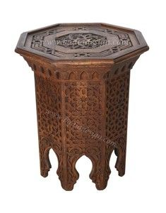 Hand Carved Wooden Side Table from Badia Design Inc.