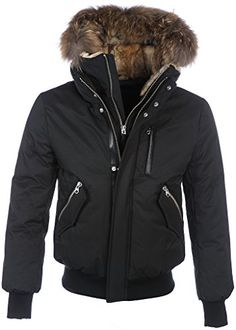 Mackage DIXON-F5 Mens Raccoon Fur Hooded Down Bobmer Jacket in Black ** More info could be found at the image url.