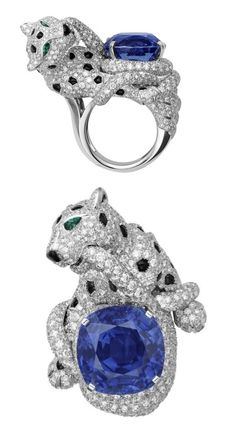 Cartier panther ring.  Side view and top.