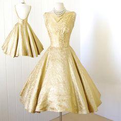 vintage 1950's dress ...fantastic JAY HERBERT gold damask plunging back full CIRCLE skirt cocktail party dress