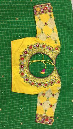 Wedding Saree Blouse Designs, Pattu Saree Blouse Designs, Blouse Designs Silk, Dress Designs, Saree Wedding, Flower Designs, Maggam Work Designs, Simple Blouse Designs, Hand Embroidery Designs