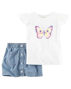 Toddler Girl 2-Piece Butterfly Tee & Chambray Skort Set | Carters.com