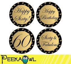 Instant Download 60th Birthday Cupcake Toppers 60th by PeekaOwl