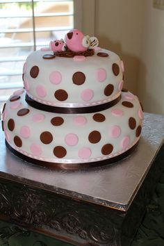 pink + brown + birdie baby shower cake