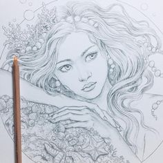 Mysteria by Anastasia Elly Koldareva Fantasy Drawings, Art Drawings Sketches, Colouring Pages, Coloring Books, Anastasia, Dragon Dreaming, Dragon Tales, Dragons, Fan Art
