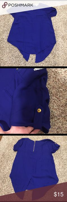 Royal Blue Blouse Brand- Sweet Wanderer Royal Blue with functional back zipper and semi open back  could be left open or I would tie into a bow) Buckle Tops Tees - Short Sleeve