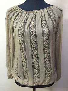 Poof Womens Size Small Nylon Spandex Tan Lace Sheer Blouse Top Shirt 3 4 Sleeve | eBay