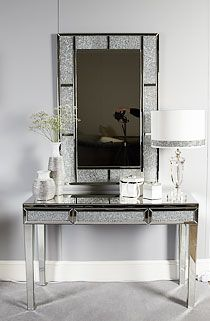 Lustrous white glass and shiny silver mirrored sideboard with 4 doors and 4 storage drawers. Decor, Furniture, Mirrored Furniture, Mirrored Bedroom Furniture, Bedroom Decor, Mirror Candle Holders, Mirrored Furniture Decor, Dressing Mirror, Mirror