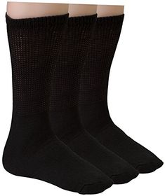 Diabetic Socks Mens Cotton 3-Pack Crew Black By DEBRA WEITZNER *** You can get more details by clicking on the image.