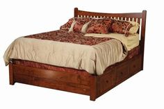Amish Portland Storage Bed Built beautifully to keep you cozy and add storage where you need it. The pretty Portland is built in choice of wood and stain. #beds #storagebeds