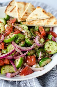 Fattoush Salad - A simple and easy Middle Eastern salad that comes together in just minutes. It's piled high with fresh veggies and leaves you feeling healthy and satisfied. (Vegan & GF) | RECIPE at http://NomingthruLife.com