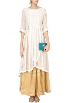 Sloh Designs White Angrakha Style Kurta and Beige Pleated Skirt Set Latest Designer Sarees, Designer Dresses, Designer Wear, Pakistani Outfits, Indian Outfits, Palazzo With Kurti, Angrakha Style, White Kurta, Simple Dresses