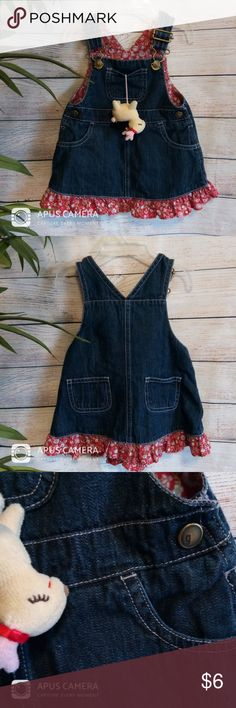 Overall Dress - 100% cotton, toy is attached to inside of pocket  ** all of my children's items are very lightly used and have been gently laundered and laid flat or hung to dry **  (excludes new/NWT items) Gymboree Dresses