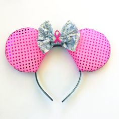 Pink Ribbon Disney Inspired Ears Breast Cancer by ToNeverNeverland