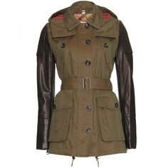 Burberry Brit Trench Jacket With Leather Sleeves ($1,095) ❤ liked on Polyvore featuring outerwear, jackets, coats, burberry, drawstring jacket, cotton jacket, short trench coat, cotton trench coat and short sleeve leather jacket